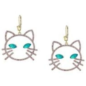 Betsey Johnson Womens Pink Stone Cat Drop Earrings